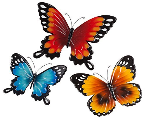 Fox Valley Traders Indoor/Outdoor Metal Butterflies, Set of 3 - Blue, Yellow, an