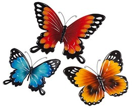 Fox Valley Traders Indoor/Outdoor Metal Butterflies, Set of 3 - Blue, Ye... - $19.36