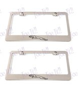 "2X ""JAGUAR"" Logo Stainless Steel License Plate Frame Rust Free W/ Bolt Caps - $22.76"