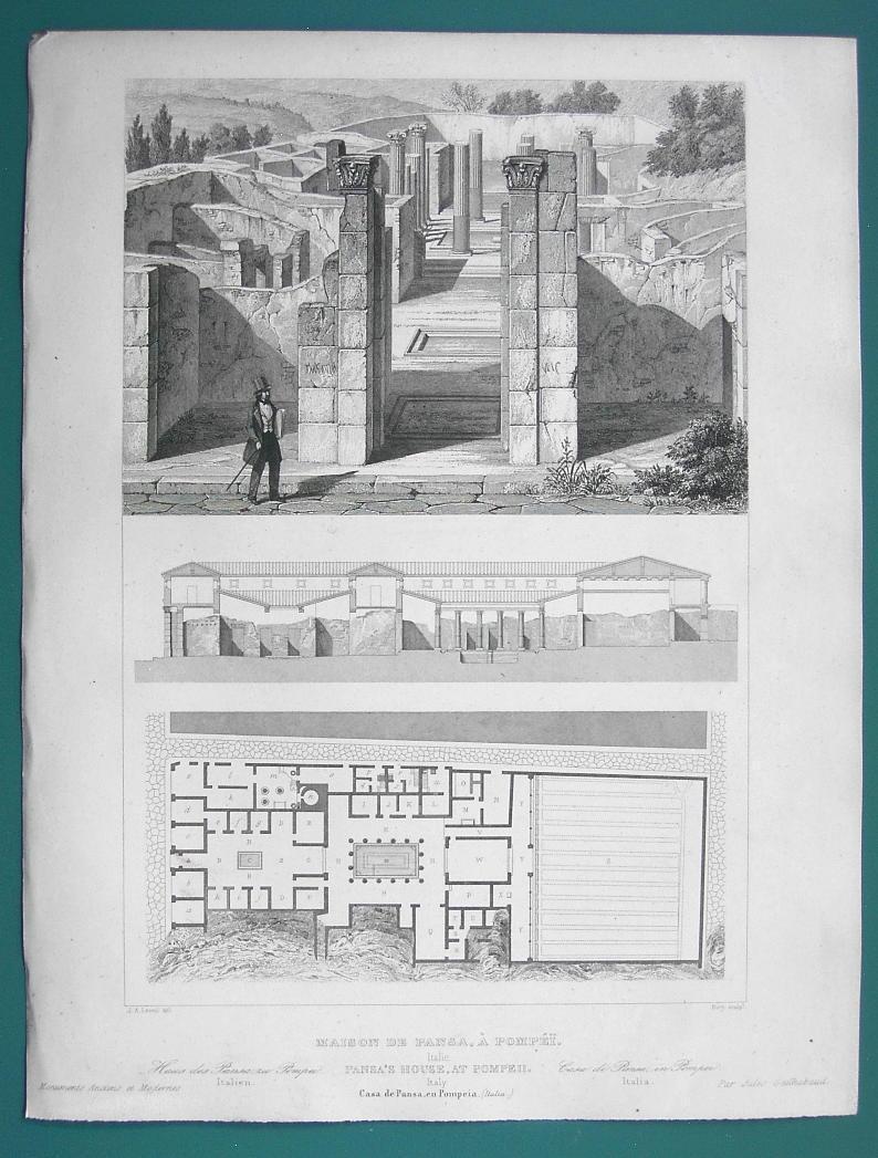 ARCHITECTURE PRINT 1850 - ITALY Pompeii Domus House of Pansa Remains