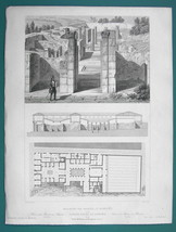 ARCHITECTURE PRINT 1850 - ITALY Pompeii Domus House of Pansa Remains - $17.96