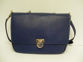 Versace womens handbag borsa vitello stampa alce satchel blue leather - $445.45