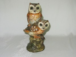 Ceramic Art Pottery Figurine 2 Owl on Branch Vintage ITALY Terra Cotta - $39.59