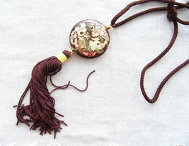 Brown Cloisonne Enamel Storks Necklace Silk Cord Vintage 1970s Double Sided - $38.00