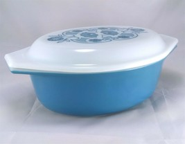 Pyrex 043 Horizon Blue Milk Glass 1½ qt Vintage Casserole Dish w/ Patter... - $50.00