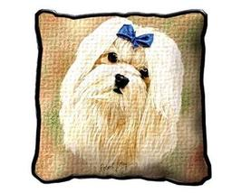 "17"" Large MALTESE Dog Pillow Cushion Tapestry - $32.50"