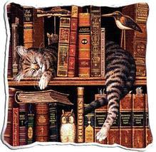 "17"" Striped Cat Sleeping on Bookshelf Pillow Cushion - $32.50"