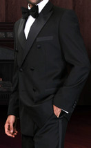MENS SOLID BLACK 150S WOOL DOUBLE BREASTED DESIGNER TUXEDO 38-54 - $232.19
