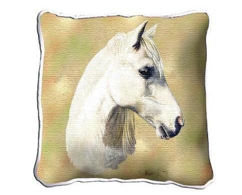 "Primary image for 17"" Large White WELSH PONY HORSE Pillow Cushion Tapestry"