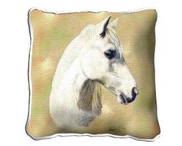 """17"""" Large White Welsh Pony Horse Pillow Cushion Tapestry - $34.50"""
