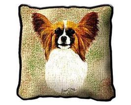 "17"" Large PAPILLON Dog Pillow Cushion Tapestry - $32.50"