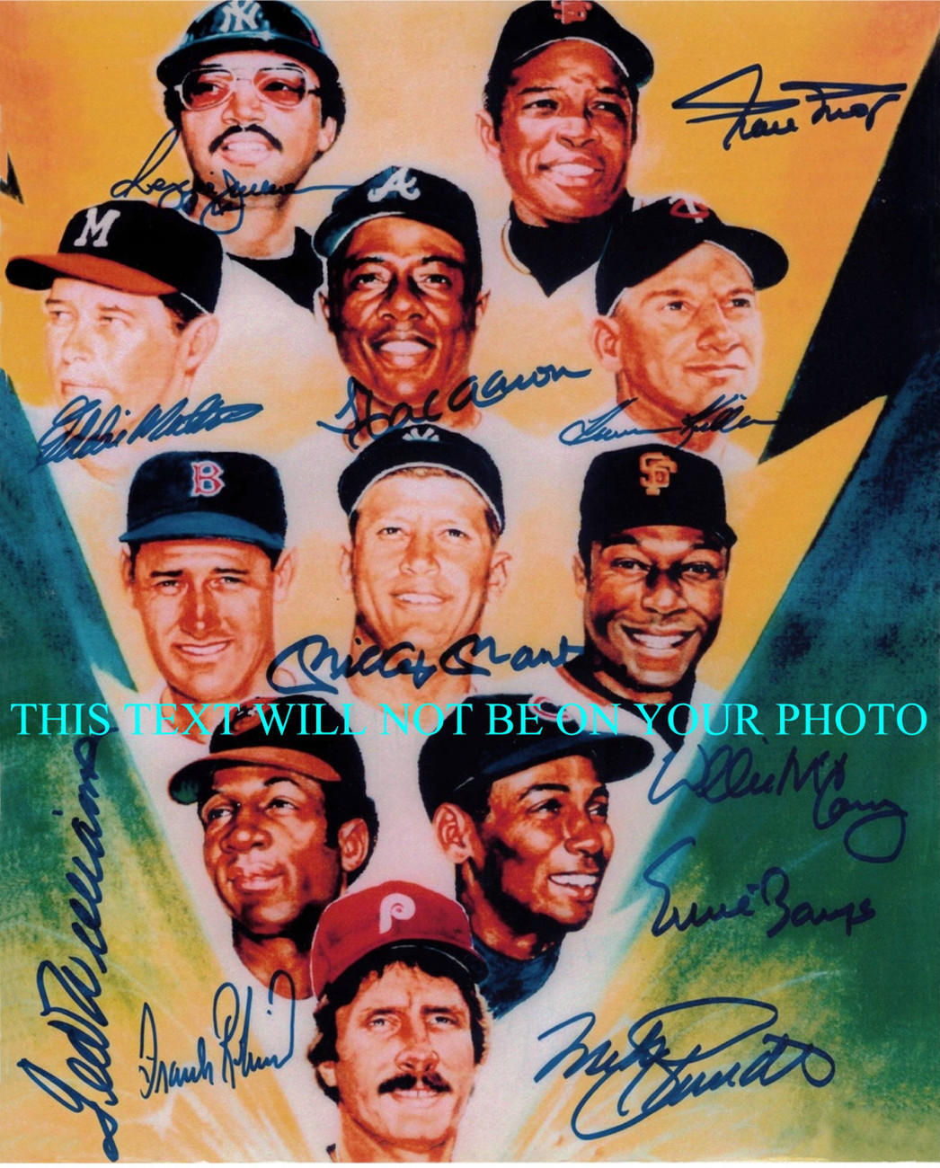 Primary image for BASEBALL LEGENDS 500 + HOME RUNS TED WILLIAMS HANK AARON + SIGNED 8x10 RP PHOTO
