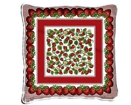 "17"" LARGE Strawberry Festival Pillow Cushion Tapestry"