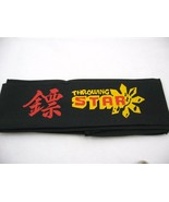 "BLACK color NINJA head band THROWING star 100% cotton 42""new - $5.00"