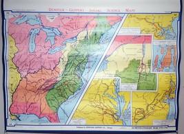 """Denoyer-Geppert Revolutionary War 1775-1783 School Wall Map 44x36"""" A8 1963 - $39.60"""