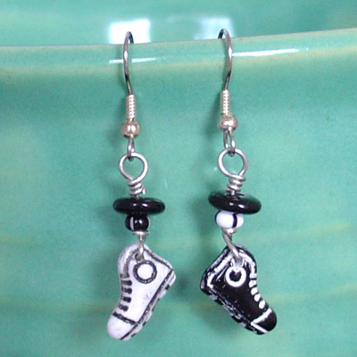 Primary image for Converse High Top Tennis Shoes Earrings! Black & White