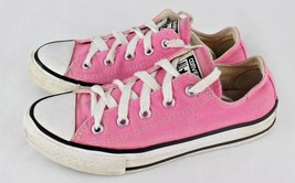 Converse all star girls pink & white canvas low top sneakers chuck taylo... - $30.43