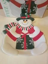 Fitz & Floyd Holiday Snowman Canape Plate Nib New - $19.20