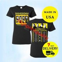 Shinedown Shirt Attention Attention Tour 2019 Women Black T Shirt full Size - $24.99+