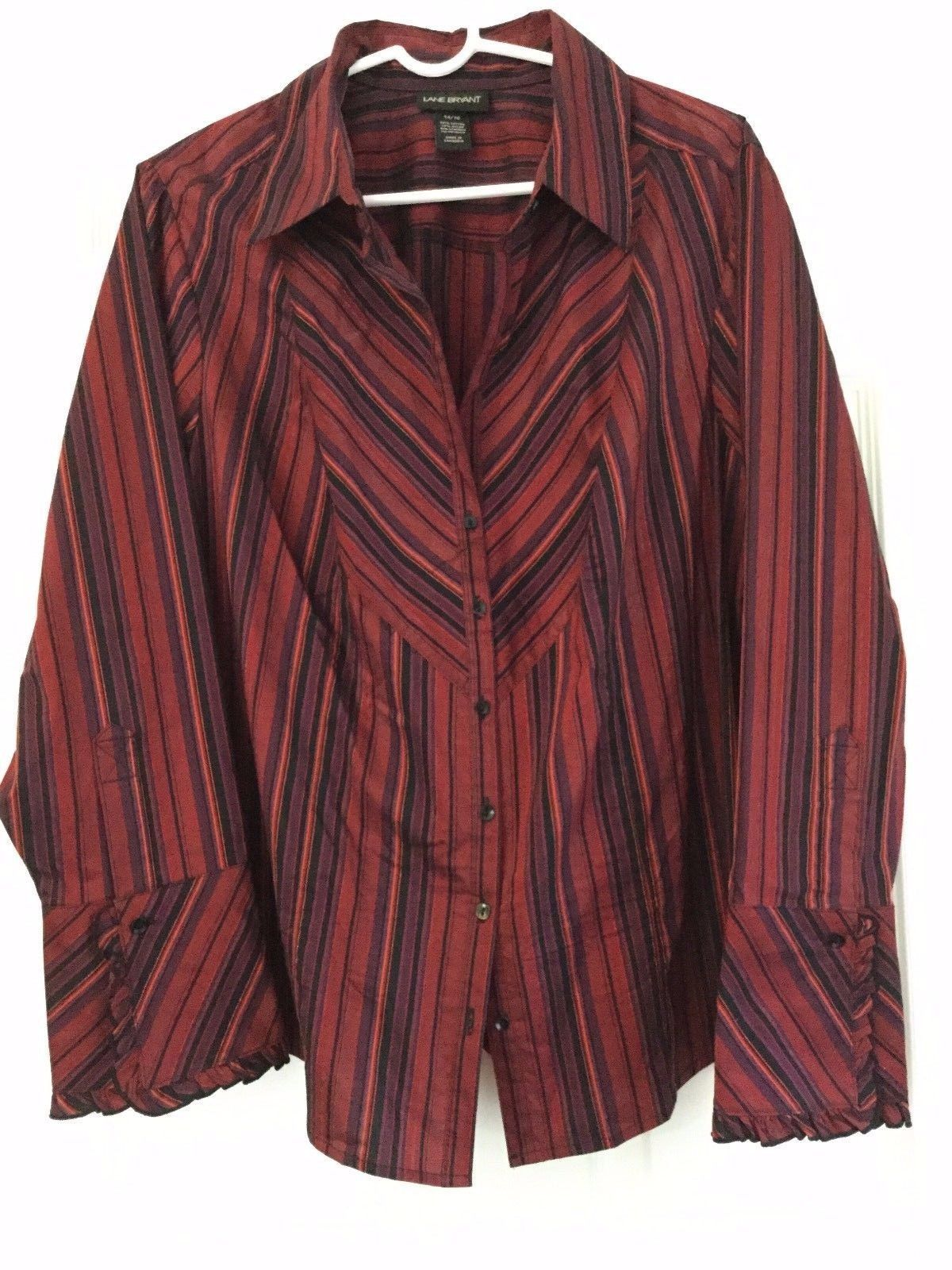 Primary image for Lane Bryant Blouse Long Sleeve Button Ruffled Cuff Red Purple Stripes Size 14 16