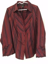 Lane Bryant Blouse Long Sleeve Button Ruffled Cuff Red Purple Stripes Si... - $9.85