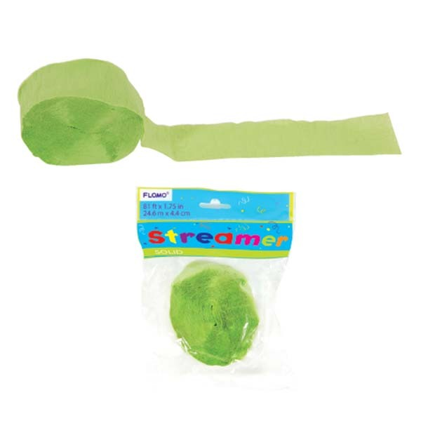 Lime Green Crepe Streamer 81 X 1.75/Case of 36