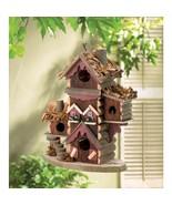 Birdhouse Gingerbread Style Eucalyptus Wood Yard and Garden Decor Brand New - $31.95