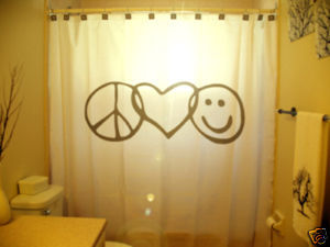 SHOWER CURTAIN Peace Love Happiness Smiley Face Sign