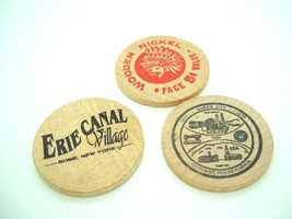 VTG Wooden Nickel token lot 2 National Bank Olyphant Pa 1 Erie Canal Rom... - $5.92