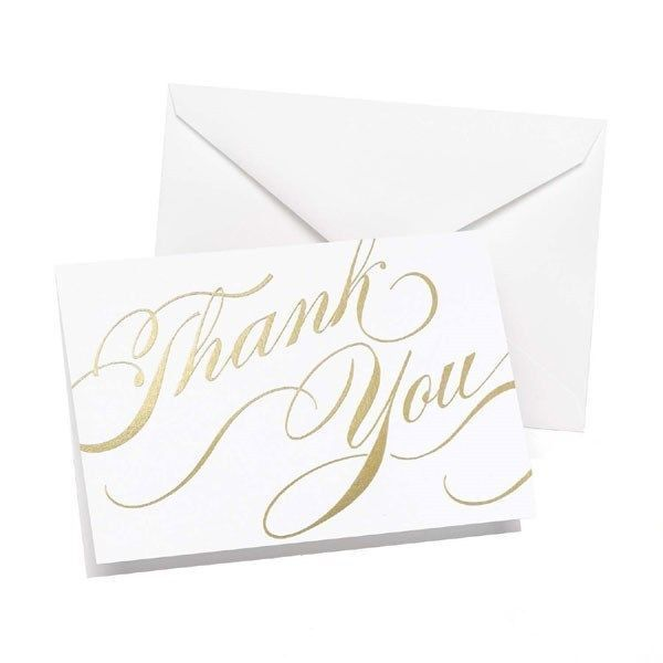 Gold Thank You Pack of 50 Wedding Thank you Cards Thankyou Notes - $18.71