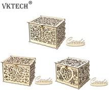 Wood Gift Box Money Box with Lock DIY Wedding Birthday Party Card Holder... - $22.90