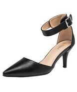 VOSTEY Women Pumps Low Heel Shoes Ankle Strap Heels Shoes Women 10,Black Pu - $27.91