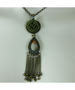 Vintage 80s Long Necklace Faux Jade Cut Rose Center Pendent Adjustable A... - $59.35