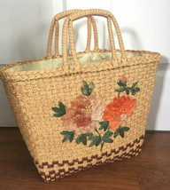Vintage Straw Woven Tote Bag Purse Woven Beach Tote Bag  - $24.26