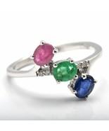 925 Sterling Silver Sapphire Ruby Emerald Tanzanite Three-stone Ring Jew... - $56.20+