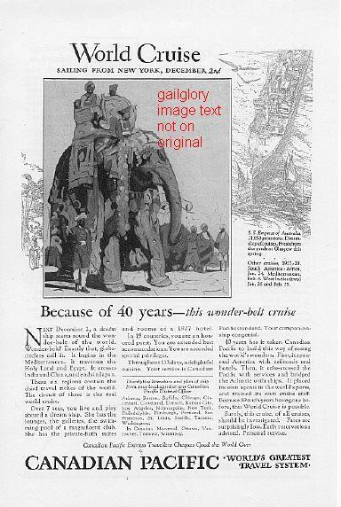 1926 White Star & Canadian Pacific Cruise 2 Vintage Ads