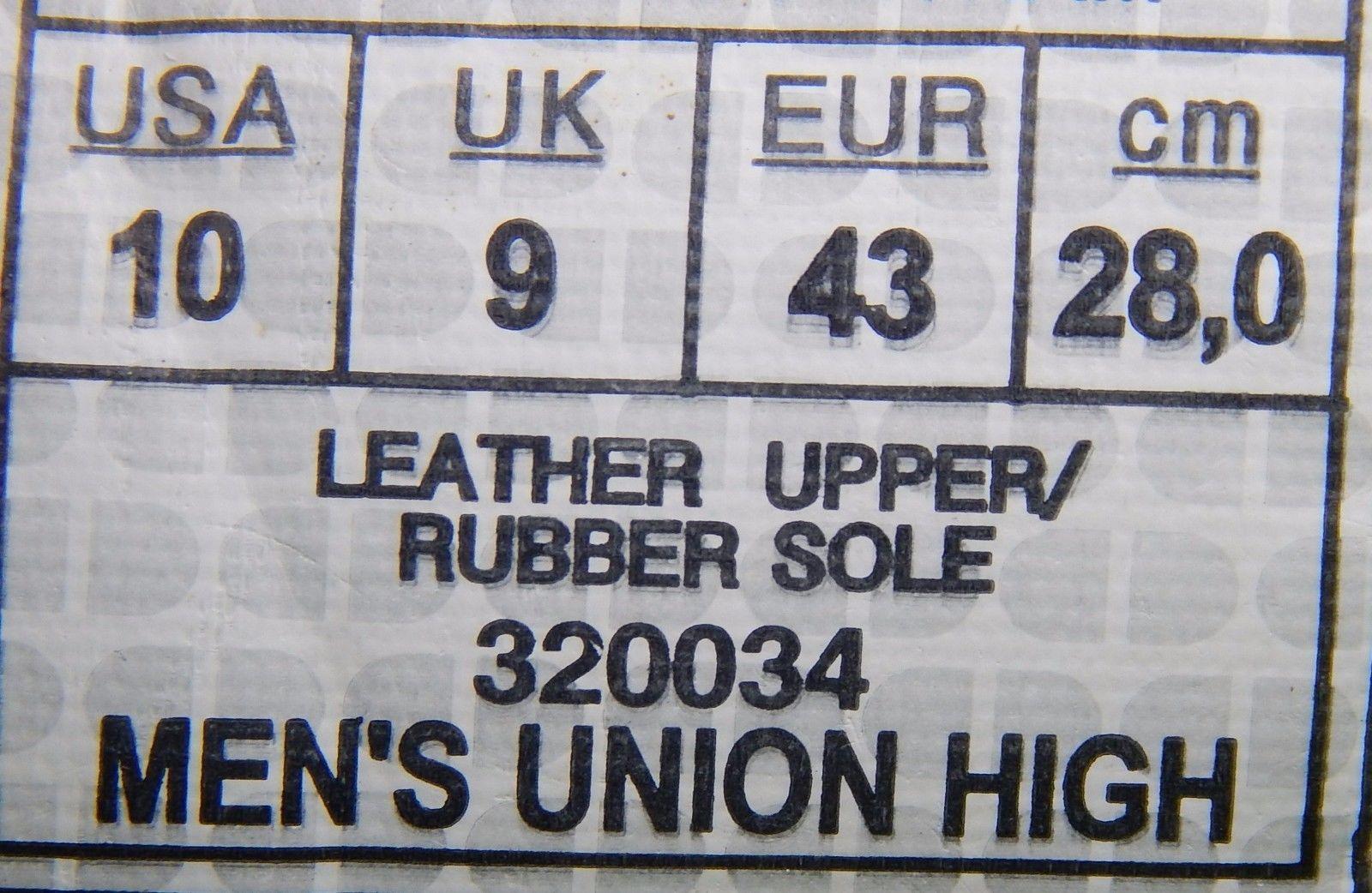 DC Union High Top Leather Men's Skate Shoes Size US 10 M (D) EU 43 White Black