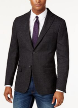 DKNY Men's Slim-Fit Charcoal Diamond-Print Sport Coat, Size 42 Short, MS... - $110.87