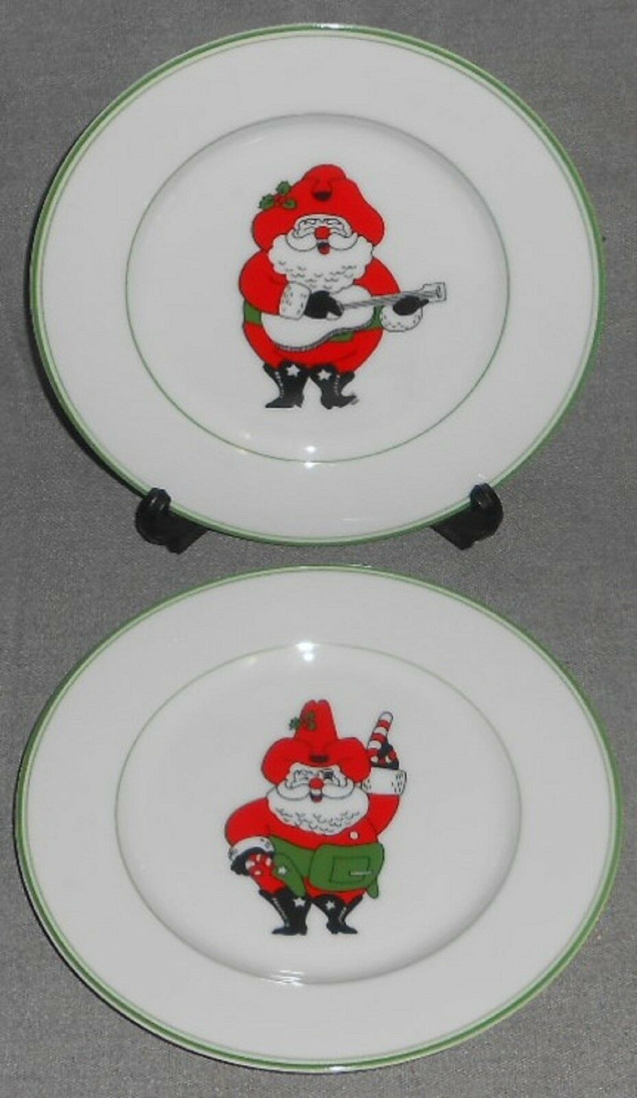 Primary image for 1976 Set (2) Fitz & Floyd SANTA CLAUS Salad Plates