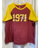 Authentic Disney World Parks T Shirt Dark Red Yellow 1971 Sport Jersey S... - $16.70