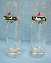 "Heineken Beer Glass Tumbler Highball Set of 2 6.5"" Tall Red Black - $28.14"