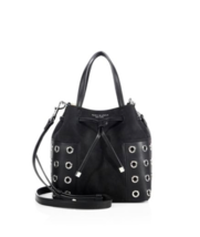 NWT Tory Burch Black Block-T Grommet Nano Drawstring Crossbody Leather S... - $245.00