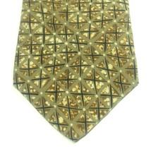 "Structure Men's Tie, 3.75"" X 58"" Necktie, 100% Silk, Brown Geometric Print image 2"