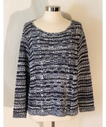 Chico's Loose Knit Sweater Pullover Top Soft Cotton Blend Blue White sz ... - $29.80