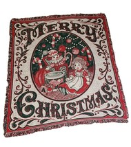 """Merry Christmas tapestry Throw Blanket 48"""" x 60"""" vintgage green red white - $41.38"""