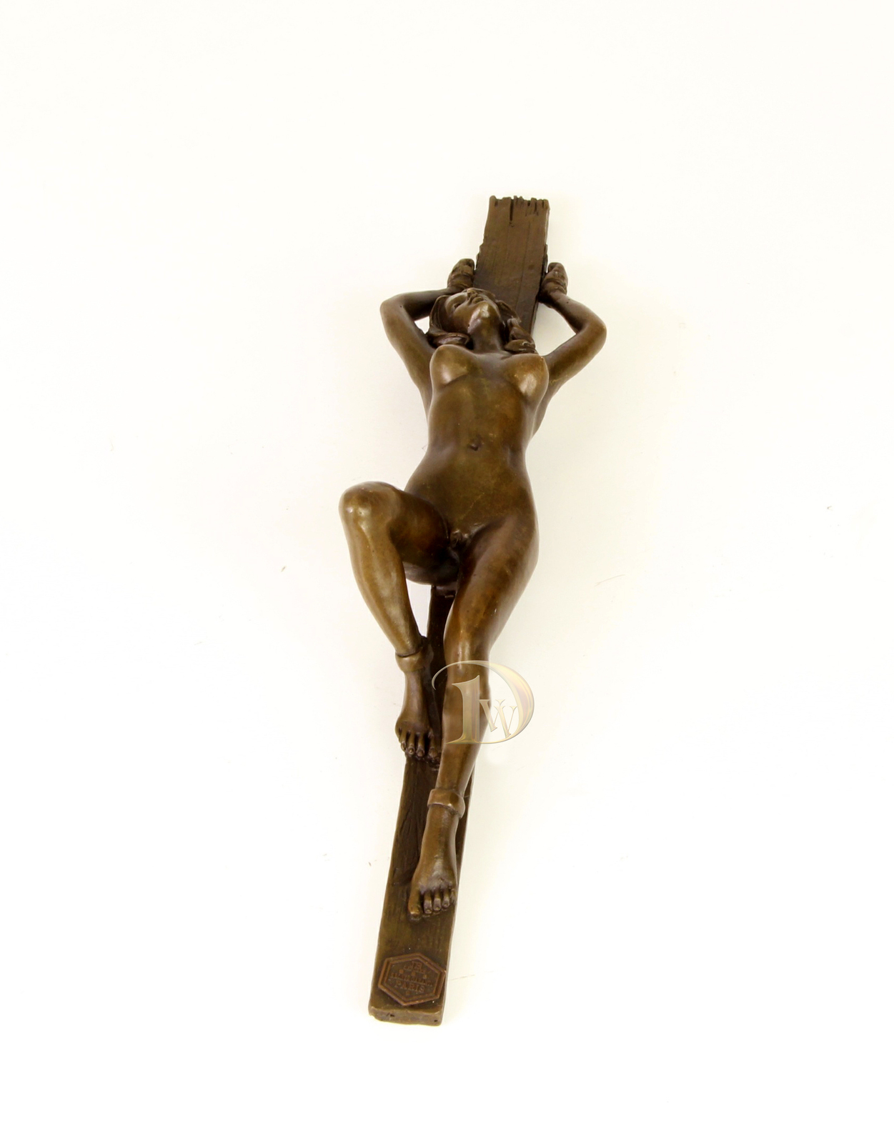 Antique Home Decor Bronze Sculpture Handcuffed female nude signed Free Air ship