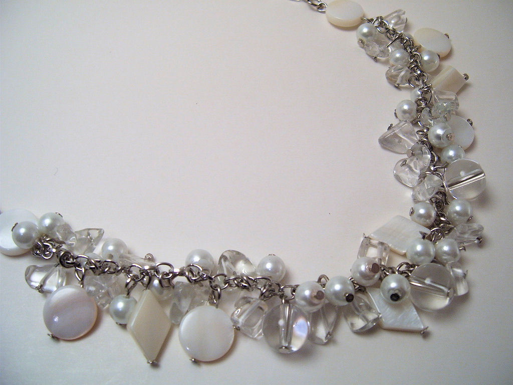 Necklace mop white pearls clear glass beads  1