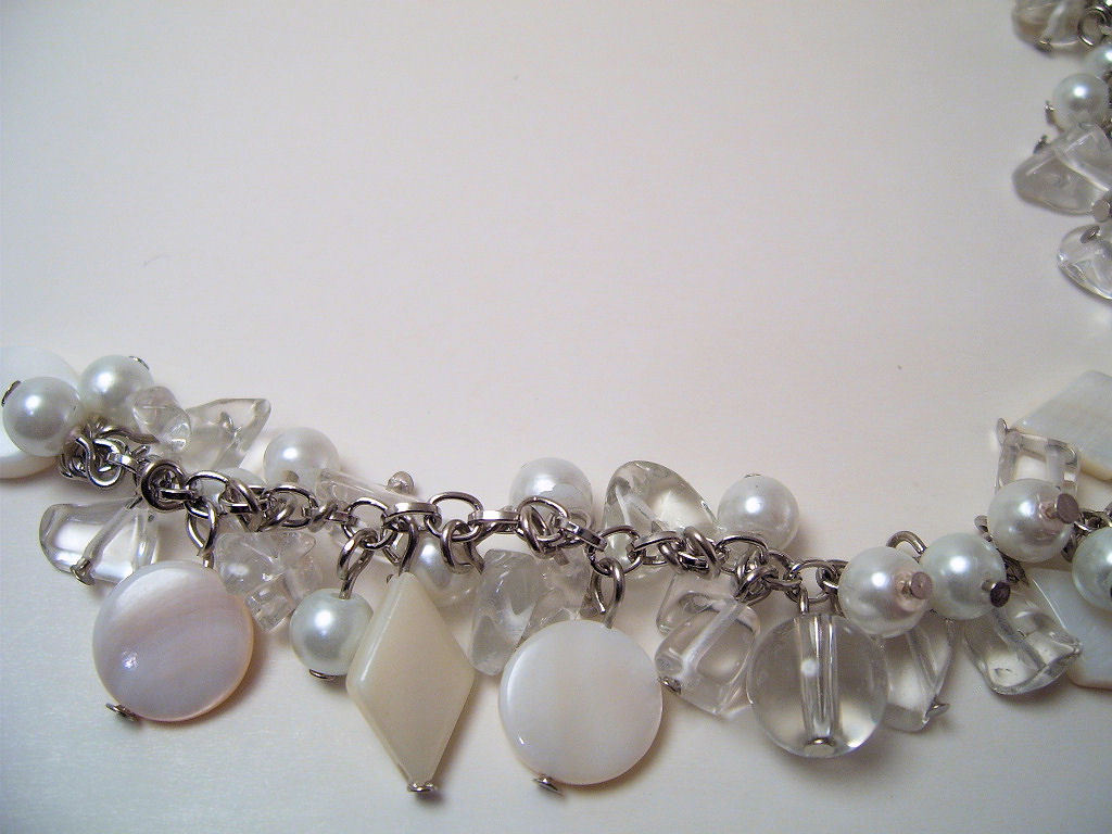 Necklace White Sea Shell Pearls MOP & Glass Beads