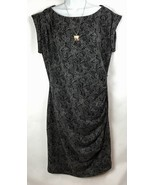 Ann Taylor Womens 12 Dress Sheath Sleeveless Ruched Snakeskin Boat Neck ... - $25.87