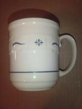 Longaberger Woven Traditions Classic Blue & Ivory Mug Cup USA Vitrified Pottery  - $14.01